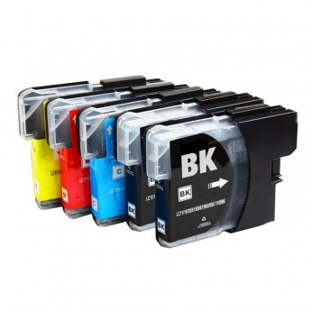 Brother LC61 Compatible, 5 pack (2) Black, (1) Cyan, (1) Magenta, (1) Yellow
