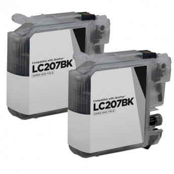 Brother LC207BK Black Super High-Yield Compatible Ink Cartridge Twin Pack