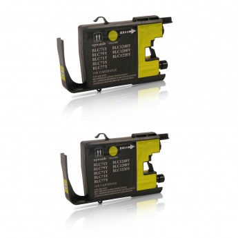 Brother LC75Y Compatible High Yield Ink Cartridge - Yellow Twin Pack