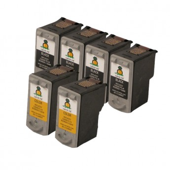 Canon PG-40 & CL-41 Remanufactured Ink Cartridge 6-Pack (4 Black + 2 Color)