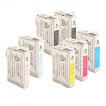 Epson 48 7-PACK COMBO: Includes 2x Black (T048120) & 1x Each - Cyan (T048220), Magenta (T048320), Yellow (T048420), Light Cyan (T048520), Light Magenta (T048620) Remanufactured Ink Cartridges
