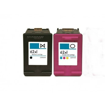 HP 62XL Combo 2-Pack Remanufactured High-Yield Ink Cartridges