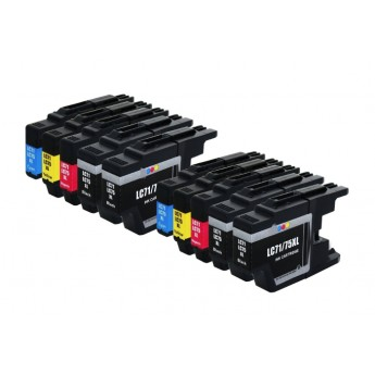 Brother LC75 Bulk Pack Compatible High Yield Ink Cartridges - 10 Piece (4bk, 2C, 2M, 2Y)