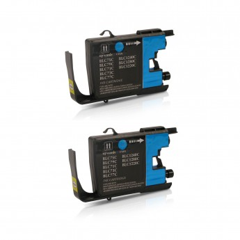 Brother LC75C Compatible High Yield Ink Cartridge - Cyan Twin Pack